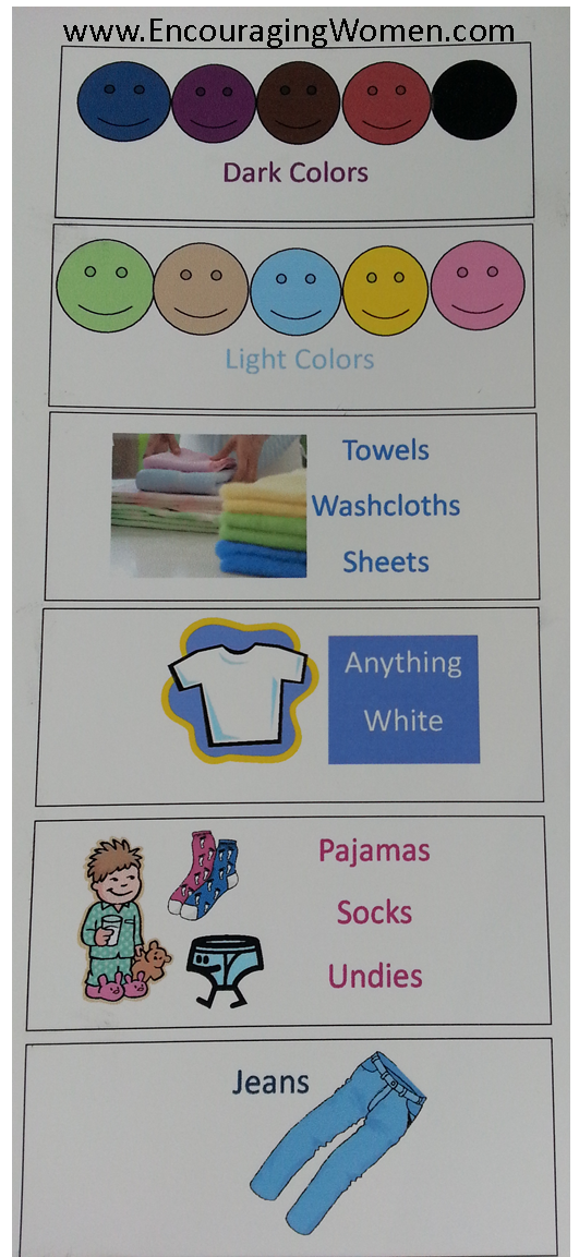Clothes Sorting By Color ~ Label laundry bins so kids know how to sort their own